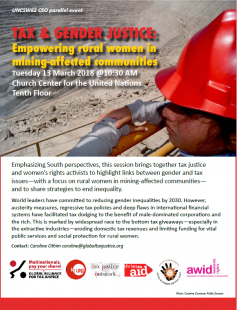Tax and Gender Justice – Empowering Rural Women in Mining-affected Communities @ Church Center for the United Nations, 10th Floor   New York   New York   United States